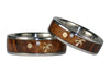 Koa Wood Diamond Titanium Ring Set - Hawaii Titanium Rings  - 4