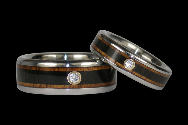 Blackwood and Hawaiian Koa Diamond Titanium Rings
