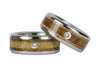 Diamond and Wood Titanium Wedding Ring Set - Hawaii Titanium Rings  - 4