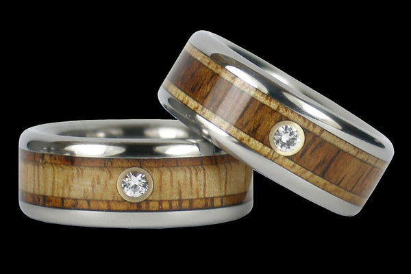 Diamond in Contrasting Wood Titanium Wedding Ring Set