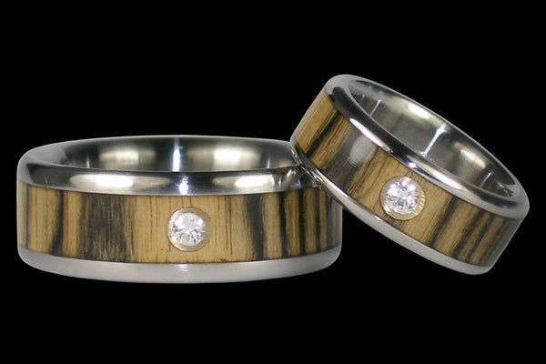 Black and White Ebony Titanium Diamond Rings