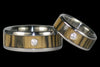 Black and White Ebony Titanium Diamond Rings - Hawaii Titanium Rings  - 1
