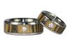 Black and White Ebony Titanium Diamond Rings - Hawaii Titanium Rings  - 4