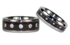 Diamond Black Wood Titanium Ring Set - Hawaii Titanium Rings  - 4