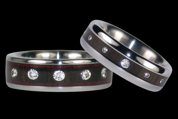 Diamond Black Wood Titanium Ring Set