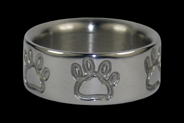 Titanium Ring with Bear Claws or Puppy Paws