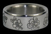 Hibiscus Engraved Titanium Ring - Hawaii Titanium Rings  - 2