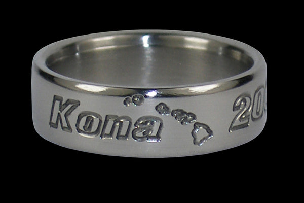 Hawaii Titanium Rings Kona Hawaii Island Chain Engraved Ring