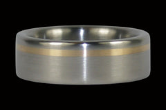 Gold Inlay Titanium Ring Band - Hawaii Titanium Rings  - 1