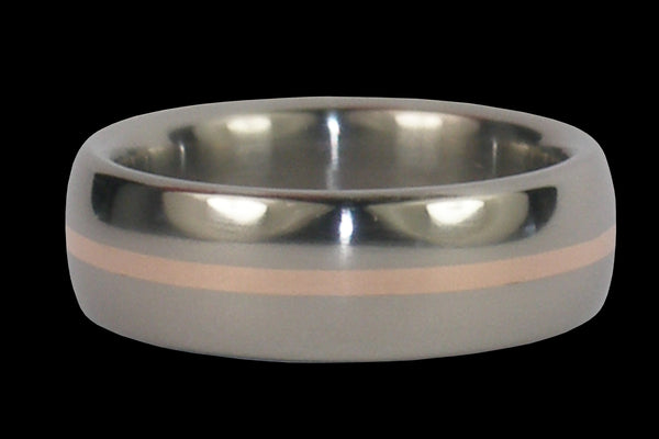 Rose Gold Inlay Titanium Ring 20