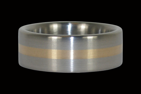 Gold Inlay Titanium Ring Band for Men and Women