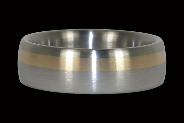 Classic Titanium Ring with Gold Inlay