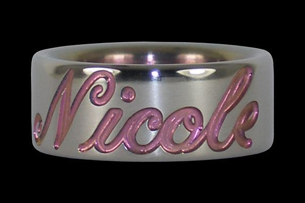 Pink Anodized Titanium Ring for Valentines Day