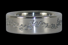 Flame Engraved Titanium Ring - Hawaii Titanium Rings