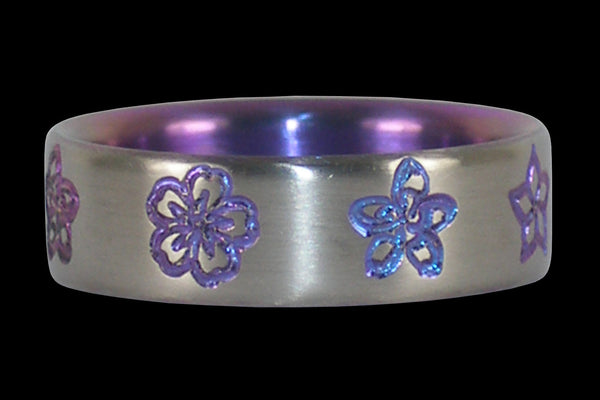 Purple Flower Titanium Ring