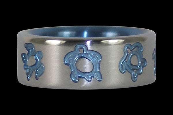 Blue Hawaii Titanium Ring with Turtles