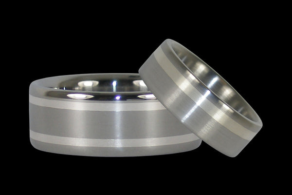 Silver Inlay Titanium Ring Bands