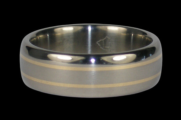 Titanium Ring Band with Yellow Gold Inlay 31