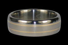 Titanium Ring Band with Yellow Gold Inlay 31 - Hawaii Titanium Rings  - 1