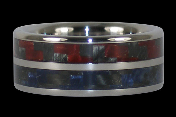 Red and Blue Carbon Fiber Titanium Ring