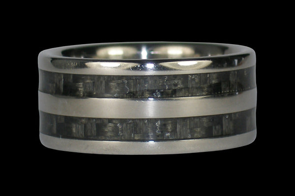 Wide Gray Carbon Fiber Titanium Ring Band