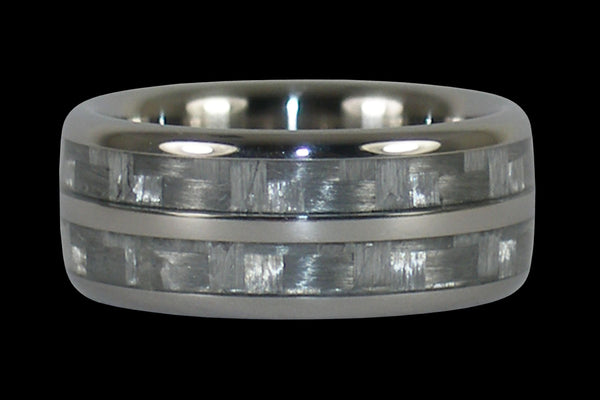 White Wedding Titanium Ring Band