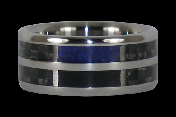 Black and Blue Titanium Ring