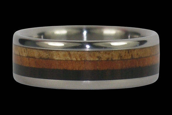 Triple Wood Titanium Ring Band