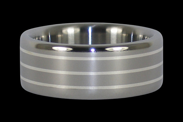 Triple Silver Inlay Titanium Ring From Hawaii Titanium Rings®