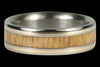 Yellow Gold and Mango Wood Inlay Titanium Ring - Hawaii Titanium Rings  - 2