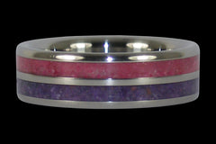 Purple Sugilite and Ruby Titanium Ring - Hawaii Titanium Rings  - 1