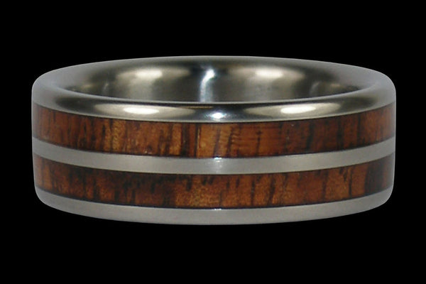 Double Koa Wood Inlay Hawaii Titanium Ring®