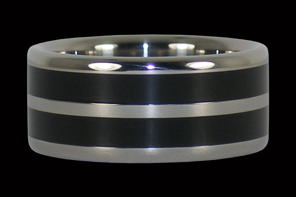 Wide Black Ebony Titanium Ring Band