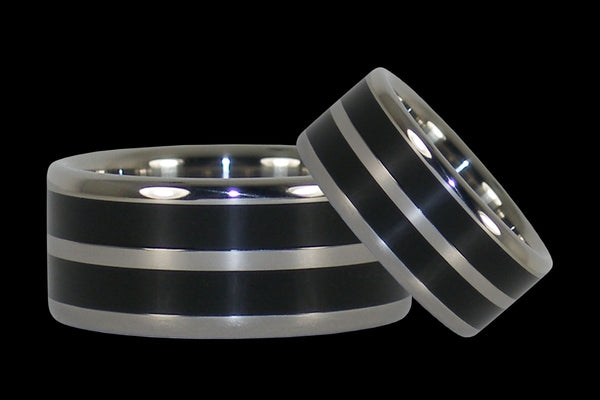 Black Wood Titanium Ring Set