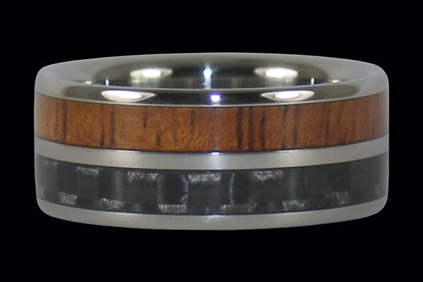Gray Carbon Fiber and Koa Hawaii Titanium Ring®
