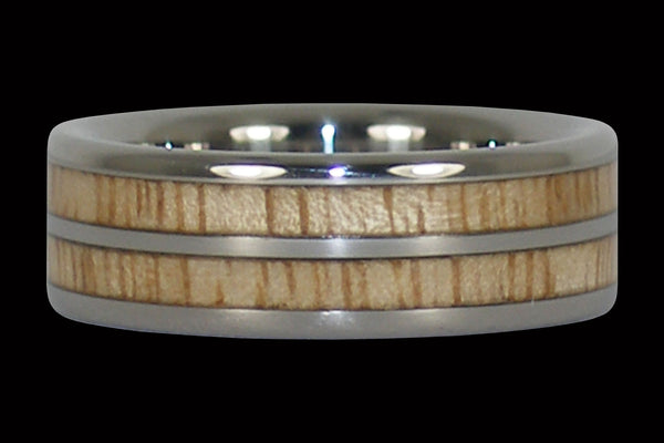 Mango Wood Titanium Ring with Double Inlay