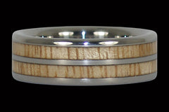 Mango Wood Titanium Ring with Double Inlay - Hawaii Titanium Rings  - 1