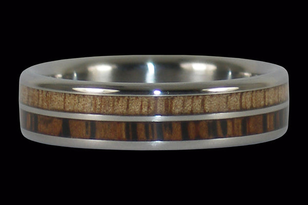 Hawaiian Mango and Palm Wood Titanium Ring
