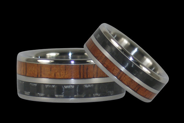 Carbon Fiber and Koa Hawaii Titanium Rings®