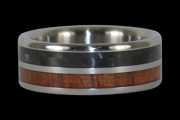 Black Carbon Fiber Koa Wood Titanium Ring