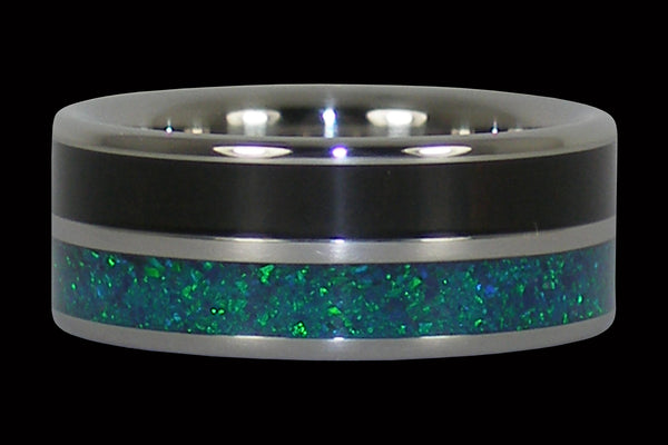 Blackwood and Blue Green Lab Opal Titanium Ring