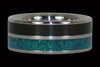 Blackwood and Blue Green Lab Opal Titanium Ring - Hawaii Titanium Rings  - 1