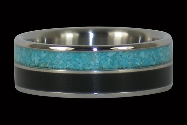 Black Ebony and Turquoise Titanium Ring