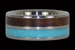 Blue Turquoise and Koa Wood Titanium Ring - Hawaii Titanium Rings  - 1