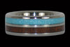 Blue Turquoise and Koa Wood Titanium Ring - Hawaii Titanium Rings  - 5