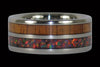 Fire Koa Titanium Ring with Red Lab Opal - Hawaii Titanium Rings  - 3