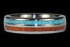 Blue Turquoise and Koa Wood Titanium Ring - Hawaii Titanium Rings  - 4