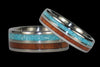 Blue Turquoise and Koa Wood Titanium Ring - Hawaii Titanium Rings  - 6