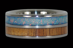 Light Koa and Blue Lab Opal Titanium Ring - Hawaii Titanium Rings  - 1