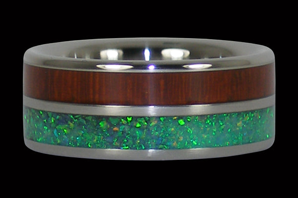 Padauk and Green Lab Opal Titanium Ring